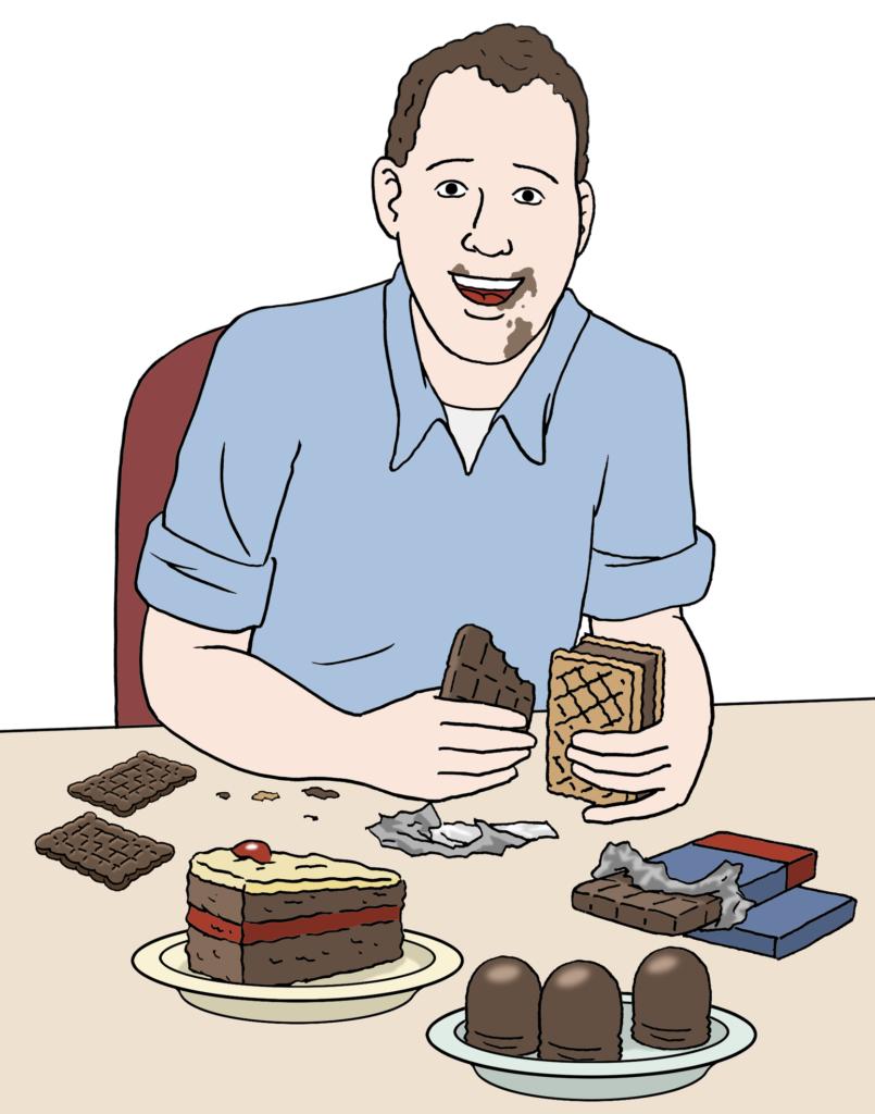 Eine Person isst ganz viel Schokolade: Schokotorte, Schokowaffeln, Schokoküsse. Der Mund von der Person ist mit Schokolade beschmiert. Die Person sieht ganz glücklich aus.